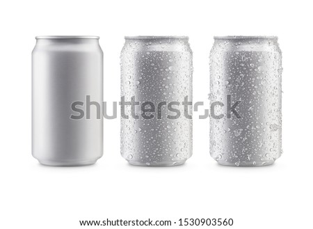 Photo of  Cans in silver isolated on white background,canned with water drops,canned with water drops and ice