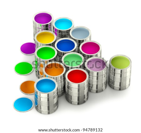 cans of paint for painting walls with green stain - stock photo