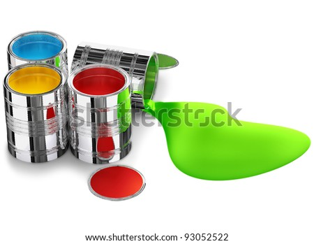 cans of paint prepared for painting walls