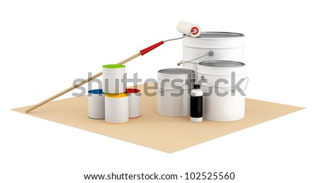 Cans with color paint and roller brush  over cardboard isolated on white- rendering