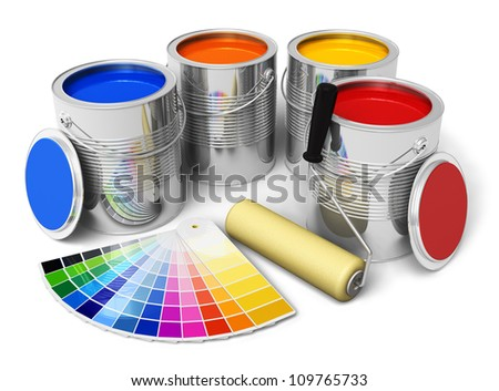 Cans with color paint, roller brush and color guide isolated on white background