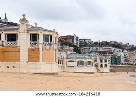 Cantabrian Sea sandy beach, San Sebastian, Basque Country, Spain #184216418