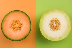 Cantaloupe and Honeydew Whole MElon Sliced in Half, Top View, Pastel Background.