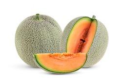 cantaloupe melon isolated on whitebackground
