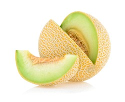 Cantaloupe melon with slices isolated on white background.