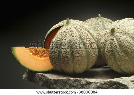 Cantaloupe on a stone