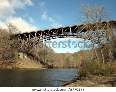 Cantilever Bridge and small river running to Hudson