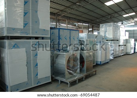 CANTON, CHINA - NOVEMBER 11: One of the biggest manufacturer of auto spray booths and generators in China. Generators warehouse on November 11, 2010 in Canton, China.