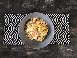 Cantonese fried basmati rice with ham and eggs