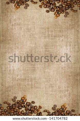 Canvas and Coffee Beans Vertical Photo Background. Copy Space Collection.
