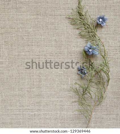 Canvas background with a vertical composition from branches and artificial flowers