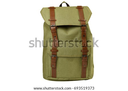 Canvas Backpack accessories isolated hipster background white. Green with brown bag. Hand made backpack for travelers.