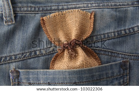 canvas bag in a purse in his pocket of blue jeans - stock photo