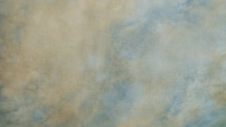 Canvas fabric surface, blue sky and white clouds design. Old distressed weaving colored cotton, white, beige and blue tone. Empty weathered sepia printing sheet. Abstract textile texture background