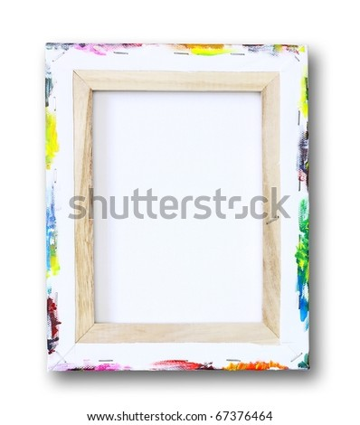 canvas on a stretcher, acrylic paint on edge isolated on white