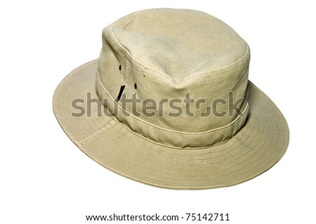 Canvas or cloth hat isolated on white. - stock photo