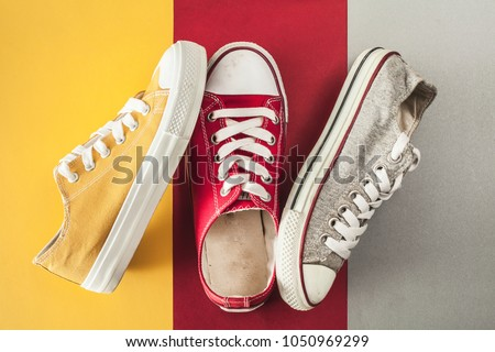 Canvas shoes high angle view