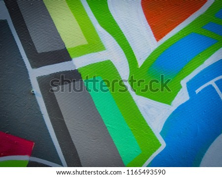 Canvas with hand drawn abstract steel blue, light steel blue and lime green color pastel or oil paint smears, lines, spots and geometric figures. #1165493590
