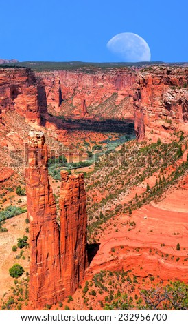 Canyon de Chelly and moon Navajo indian reservation northern Arizona