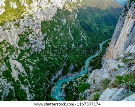 Canyon Gorges du verdon. View to the grand canyon du verdon. Moustiers Sainte Marie, France