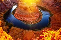 Canyon national park. Scenic Horseshoe Bend canyon on Colorado River in Arizona USA