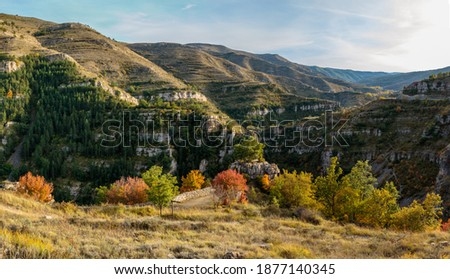 canyon of the river leza in an autumn day Stock fotó ©