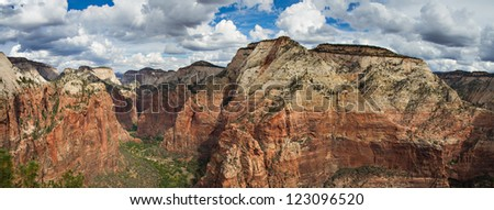 Canyon of the Zion National Park as seen from Angels Landing, Utah
