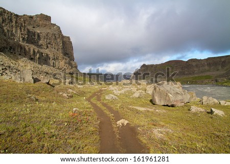 canyon with hiking path in iceland
