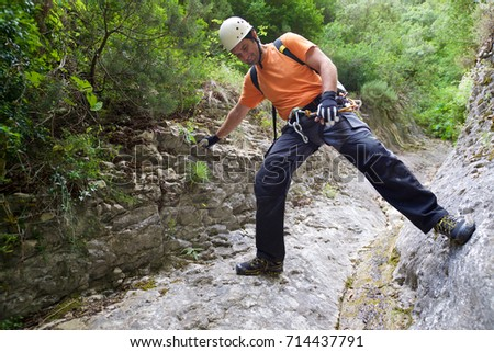 Canyoning in Guara Mountains, Huesca Province, Aragon, Spain. #714437791