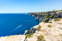 Cap Blanc viewpoint, located on the Cape of the same name, is a cliff 91 meters high, which offers a spectacular landscape from the island of Cabrera to the bay of Palma. Balearic Islands, Mallorca, S