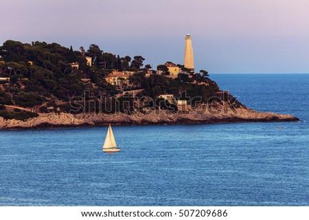 Cap Ferrat lighthouse in Saint Jean Cap Ferrat. Saint Jean Cap Ferrat, French Riviera, France. #507209686