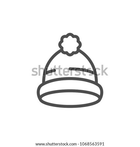 Cap line icon isolated on white