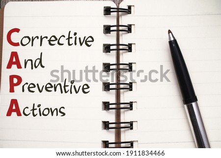 CAPA Corrective and Preventive Actions, text words typography written on book, life and business motivational inspirational concept Stock fotó ©
