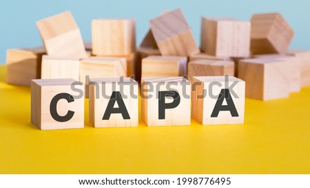 capa word construction with letter blocks and a shallow depth of field, business concept Stock fotó ©