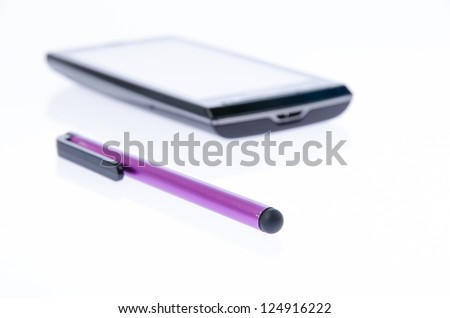 Capacitive pen and smart phone on white background