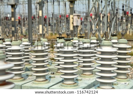 Capacitor bank - stock photo