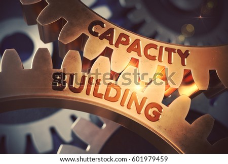 Capacity Building Concept. Golden Gears. 3D Illustration.