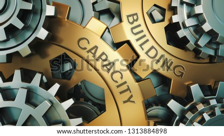 Capacity Building - Concept. The inscription on the golden cogwheels. In the background is a clock or engine mechanism. 3d illustration