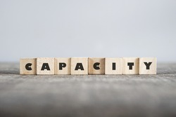 CAPACITY word made with building blocks