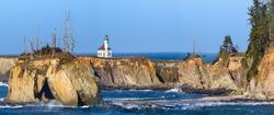 Cape Arago Lighthouse panorama on the Oregon Coast