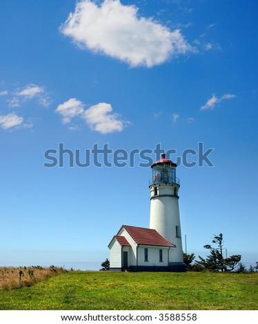 Cape Blanco Lighthouse on the Oregon Coast on a sunny afternoon.