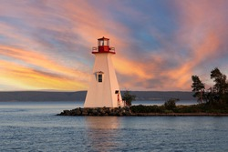 Cape Breton Lighthouse in a colorful sunset