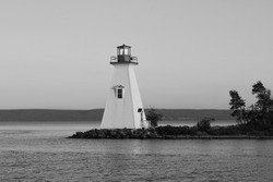 Cape Breton Lighthouse in black and white
