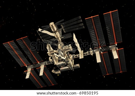 CAPE CANAVERAL, FL- JAN 2: Miniature of the International Space Station in outer space displayed at NASA, Kennedy Space Center in Florida, January 2, 2011.