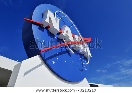 CAPE CANAVERAL, FL- JANUARY 2: The NASA's Logo Signage at the Kennedy Space Center, NASA in Florida on December 28, 2010.