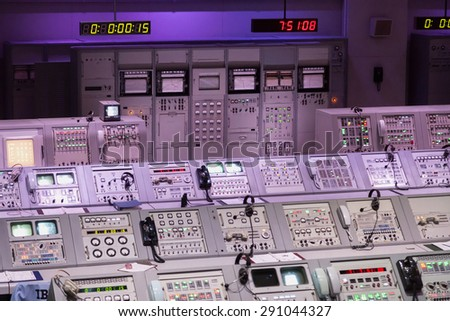 CAPE CANAVERAL, November 1th, 2014.  The NASA\'s Control Station displaying control panels, countdown clocks and communication devices at Kennedy Space Center in Florida.