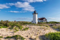 Cape Cod beach and Race Point lighthouse, Provincetown, Massachusetts, USA