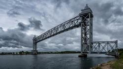 Cape Cod Canal Railroad Bridge, a vertical lift bridge in Bourne, Massachusetts near Buzzards Bay, USA.