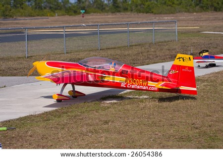 CAPE CORAL, FL. - FEB 22: Alex Miller's airplane waits on the ready line in Cape Coral, Florida for his practice session for the coming Gathering of the Giants air show on March 21 & 22, 2009.