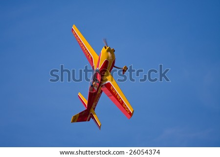 CAPE CORAL, FL. - FEBRUARY 22: Alex Miller's remote control airplane in action in Cape Coral, Florida in preparation for the Gathering of the Giants air show which will be held on March 21 & 22, 2009.